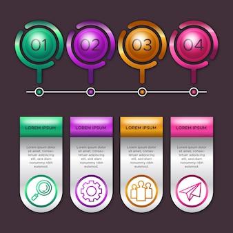 Motyw 3d błyszczący infografiki