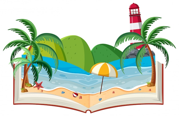 Motyw 3d book beach