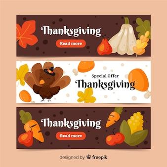 Motyw banery kolorowe święto dziękczynienia