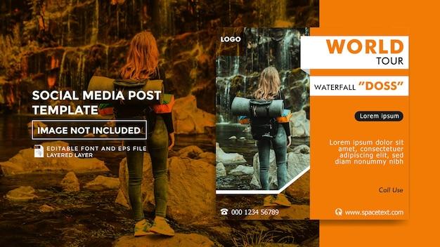 Motyw biura podróży szablon postu w mediach społecznościowych