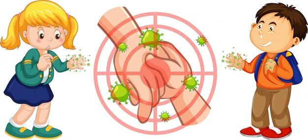 Motyw coronavirus z dwójką dzieci o brudnych rękach