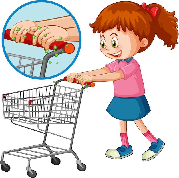 Motyw coronavirus z dziewczyną pchającą wózek na zakupy