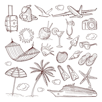Motyw czasu letniego w stylu wyciągnąć rękę. zestaw ikon gryzmoły. zbiór ilustracji ręcznie rysowane lato ikony