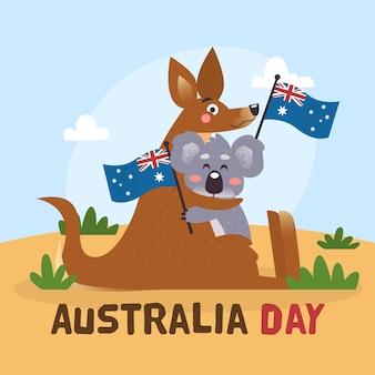 Motyw dzień australii w koncepcji płaska konstrukcja