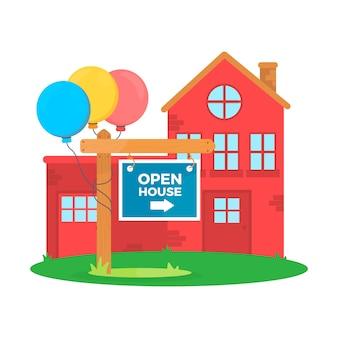 Motyw etykiety dla otwartego domu