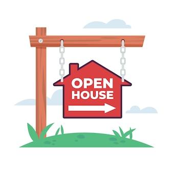 Motyw etykiety otwarty dom