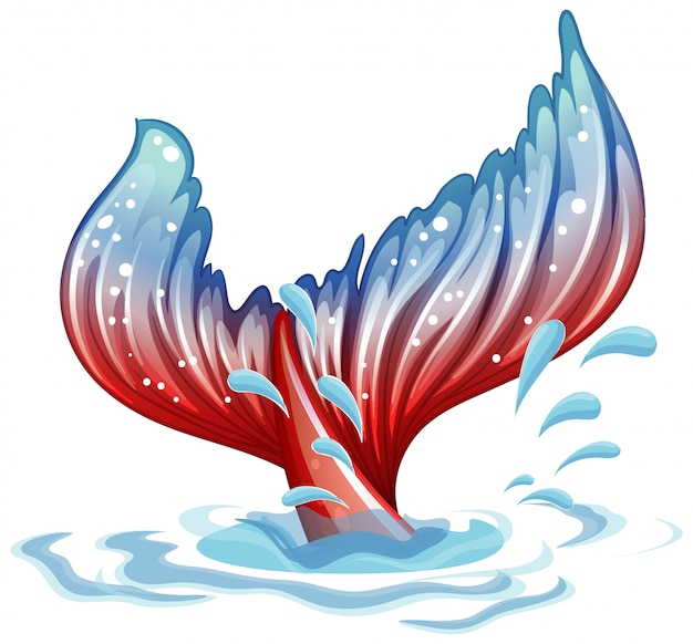 Motyw fantacy z płetwą syreny pod wodą
