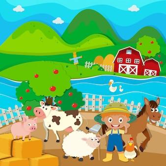 Motyw farma z rolnikami i zwierzętami hodowlanymi