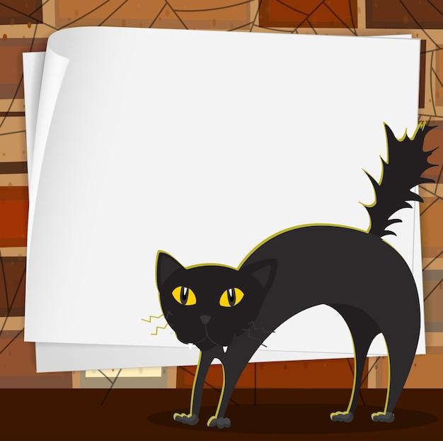Motyw halloween z czarnym kotem