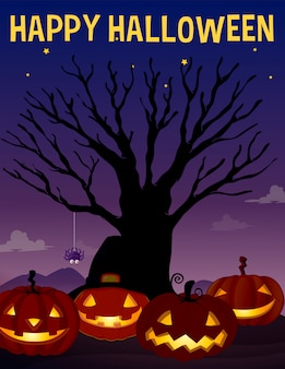 Motyw halloween z drzewem i dyniami