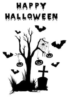 Motyw halloween z nietoperzami i nagrobkiem