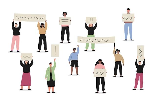 Motyw ilustracja ludzie protestujący