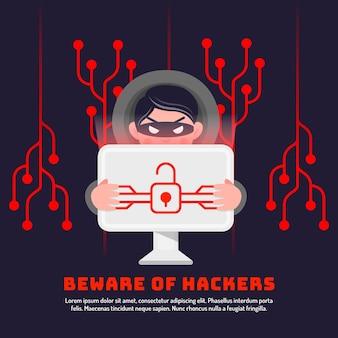 Motyw ilustracji aktywności hakera