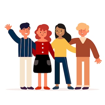 Motyw ilustracji młodych ludzi