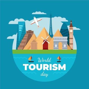 Motyw ilustracji światowego dnia turystyki