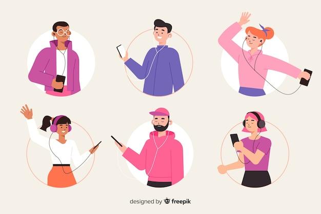 Motyw ilustracyjny z ludźmi słuchającymi muzyki