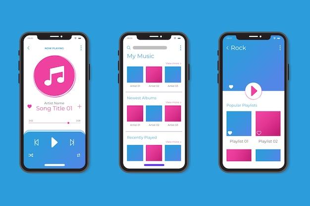 Motyw interfejsu aplikacji odtwarzacza muzyki