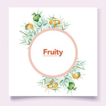 Motyw karty akwarela owoce tło