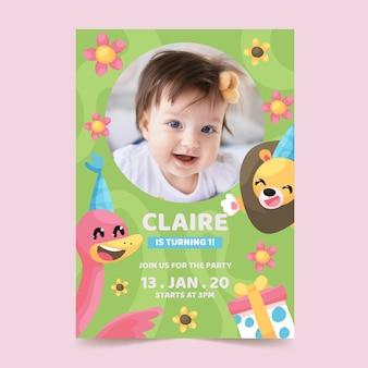 Motyw karty urodzinowej dla dzieci