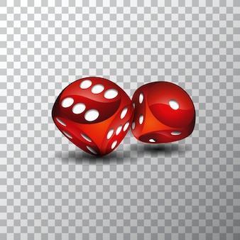 Motyw kasynowy z czerwonymi kostkami na przezroczystym tle.