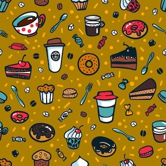Motyw kawy bezszwowe tło