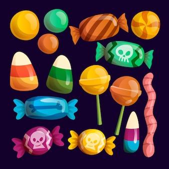 Motyw kolekcji cukierków halloween