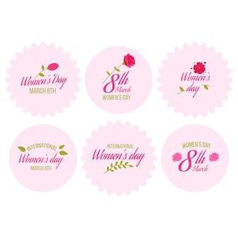 Motyw kolekcji odznaka dzień kobiet płaska konstrukcja