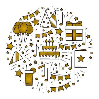 Motyw koncepcyjny urodzinowy w kolorze złotym. okrąg ze złotymi symbolami urodzin i podstawowe elementy strony na białym tle. okrągły nadruk w stylu linii.