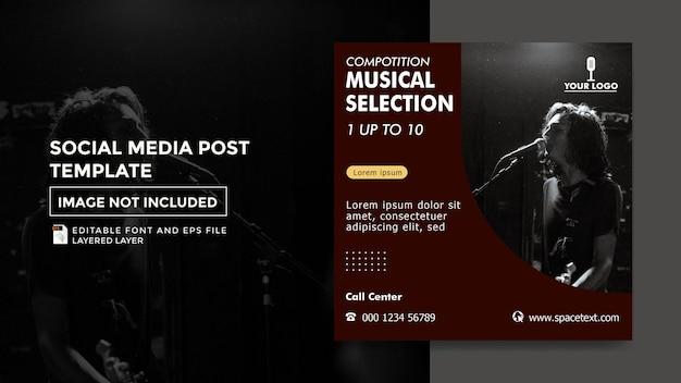 Motyw konkursu muzycznego szablon postu w mediach społecznościowych