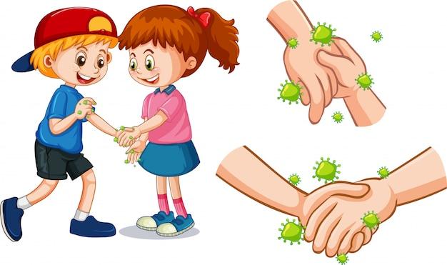 Motyw koronawirusa z ludźmi dotykającymi dłoni zarazkami