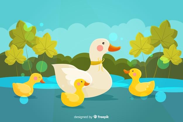 Motyw kreskówka kaczka matka i kaczątka