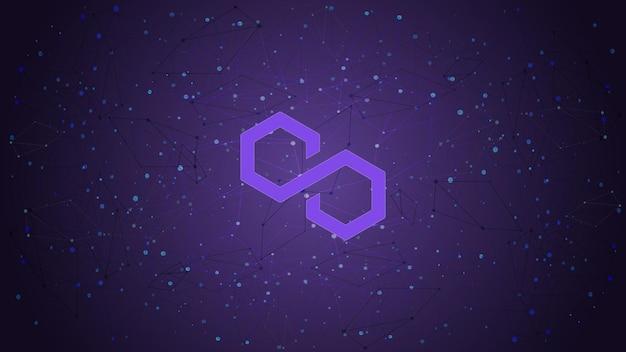 Motyw kryptowaluty polygon matic token symbol na fioletowym wielokątnym tle. ikona logo monety kryptowaluty. ilustracja wektorowa.