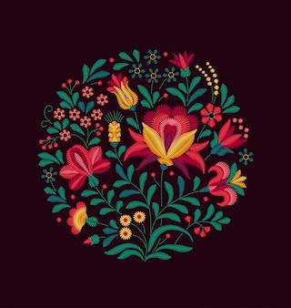 Motyw kwiatów. kwiaty na czarnym tle. bukiet kwiatów.