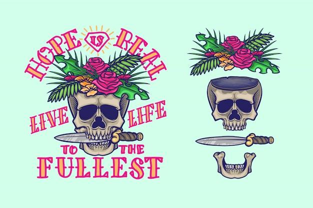Motyw kwiatowy czaszki z cytatami z życia