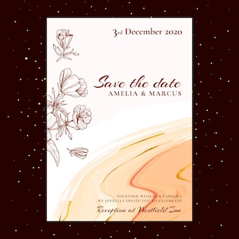 Motyw kwiatowy karty ślubu