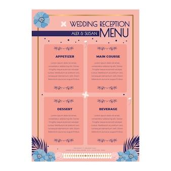 Motyw kwiatowy menu weselne
