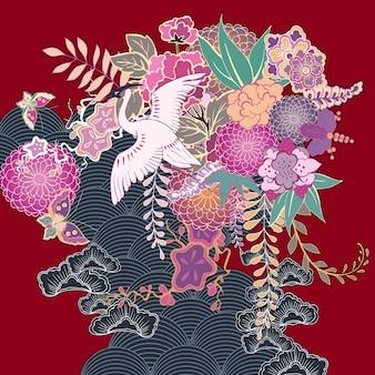 Motyw kwiatowy w stylu vintage kimono
