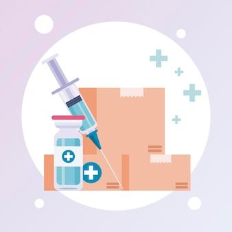 Motyw logistyki dystrybucji szczepionek z ilustracją fiolki i strzykawki w pudełkach kartonowych
