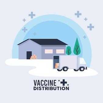 Motyw logistyki dystrybucji szczepionek z ilustracją magazynu i ciężarówki