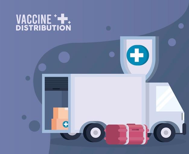 Motyw logistyki dystrybucji szczepionek z ilustracją zamrażarki i ciężarówki