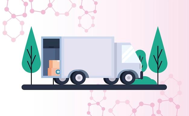 Motyw logistyki dystrybucji szczepionek z pudełkami do pakowania w ilustracji ciężarówki