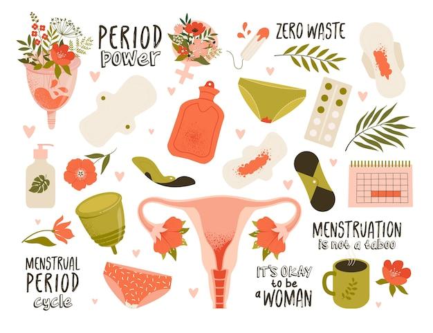 Motyw menstruacyjny. różne produkty do higieny kobiecej. zero odpadów.