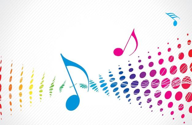 Motyw muzyczny wielokolorowy półton z nutą