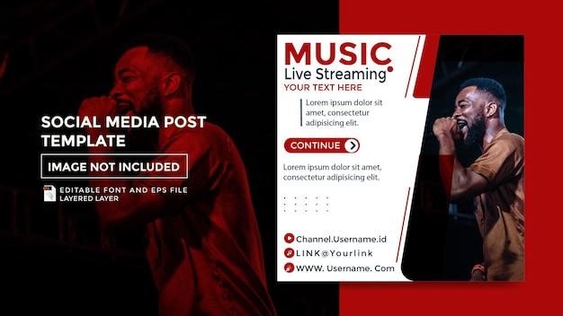 Motyw muzyki strumieniowej na żywo post szablon mediów społecznościowych