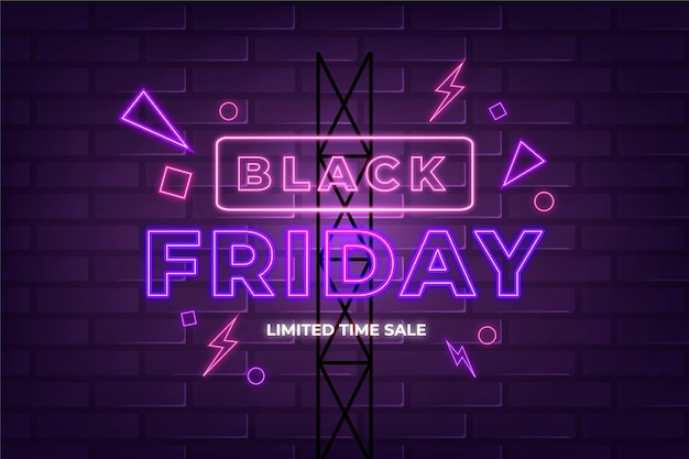 Motyw neon black friday