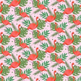 Motyw paczki flamingów
