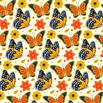 Motyw paczki owadów i kwiatów
