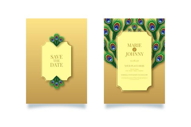 Motyw pawia na szablon zaproszenia ślubne