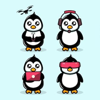 Motyw pingwina maskotka nowoczesna technologia ładny