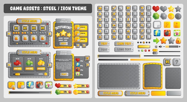 Motyw stalowy game assets